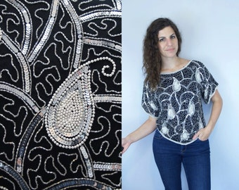 1980s 1990s Vintage Black and White Heavy Sequined & Beaded Paisley Bias Cut Short Sleeve Blouse / Fancy Evening Gown Shirt Top / Medium M 6