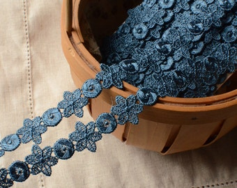 "36 meter 1cm 0.39"" wide dark blue embroidered lace trim ribbon L16K1184 free ship"