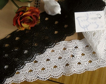 "5 yard 10cm 3.93"" wide black/ivory cotton scallop tapes lace trim ribbon n561 free ship"