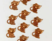 Brass Vintage Mouse Stampings, Brass Mice, Mouse with Stone Set, Jewelry Making, Gingerbread, Patina, B'sue Boutiques, 21 x 20mm, Item06910