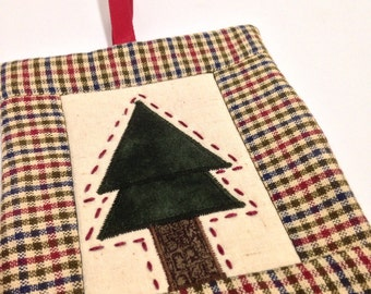 Christmas Tree quilted ornament red plaid tree with hand stitched accents