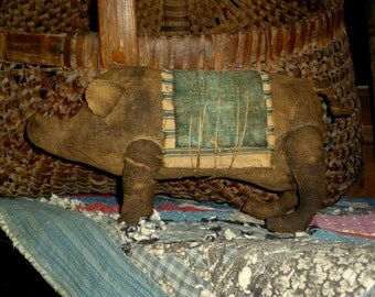 Primitive Feedsack Pig doll ~~ rag stuffed ~~ shelf sitter