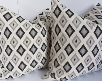 Set Of 2 Pillows - Grey Onyx Pillow Cover - Natural Black Pillow - 20x20 Set Pillows - Pillow Cover - Black Pillow - Natural Pillow