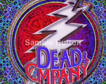 "Dead & Co Bolt Square Button - 2"" x 2"" inch - Limited Edition 100 Made"