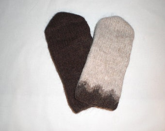 Icelandic mittens in brown colors, Icelandic wool, felted mittens, size S-M-L-XL made to order, size Large ready to ship
