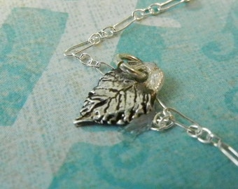 Mothers Day Gift! Little leaf Necklace. Tiniest Fine Silver 99.9 Silver Leaf reminding us of how even the trees praise the Lord! Is. 55:12