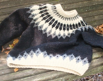 Beautiful Handmade Heavy Wool Icelandic Sweater  OOAK