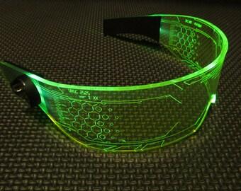 The original Illuminated Cyber goth visor WARCHIEF  Green