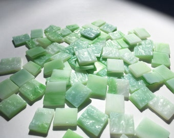 Green & White Textured Marbled Glass Squares