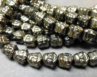 Hematite Buddha Beads. Buddha Head. Center Drilled. Gemstone Beads. Talisman Beads. 8mm. Four (4).