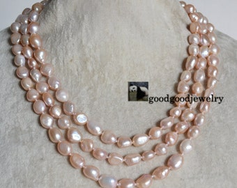 peach baroque pearl necklace,freshwater pearl necklace,pearl long necklace, women necklace,real pearl necklace,statement necklace