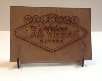 Wooden Plywood Las Vegas Sign Shape w/ Stand