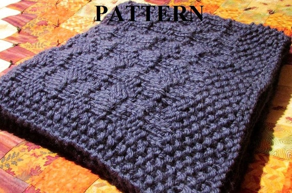 Knitting Pattern For Chunky Baby Blanket : Knitting Pattern: Chunky Knit Baby Blanket in by ...