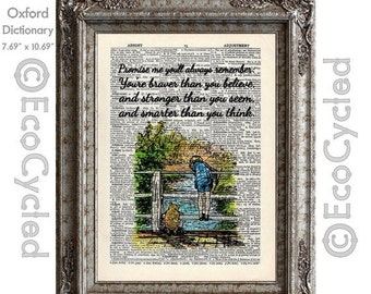 SALE Winnie the Pooh Piglet & Christopher Robin Quote 7 Braver Stronger Smarter on Vintage Upcycled Dictionary Art Print Book Art Print Nurs