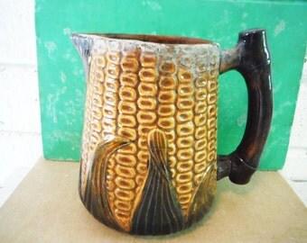 Corn cob creamer pitcher ceramic old  vintage kernels husks farm house kitchen decor yellow green brown vegetable rustic