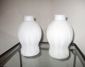 Pair of Unique Vintage Art Deco Satin Milk Glass Lamp Shades