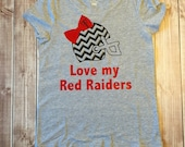 Toddler Tee, Girls Texas Tech Shirt, Red Raider Tee, Double T, Love My Red Raiders, Football Tee