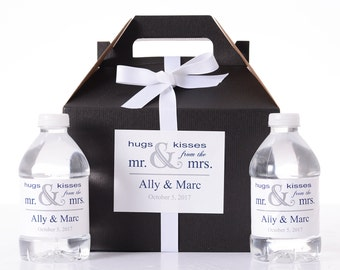 Custom Wedding Boxes - 35 Wedding Favor Box / Welcome Box Labels Gable Wedding Box Set with 70 Water Bottle Labels