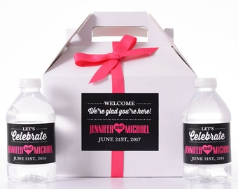 Wedding Hotel Boxes - 25 Wedding Favor Box / Welcome Box Labels Gable Wedding Box Set with 50 Water Bottle Labels