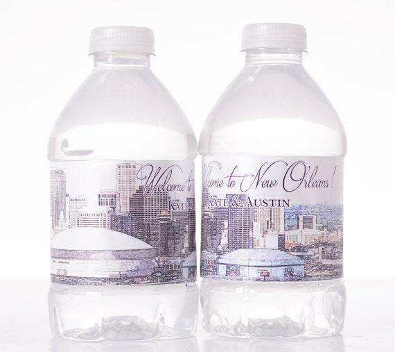 New Orleans Wedding Water Bottle Labels