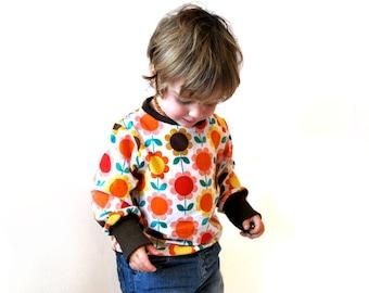 Retro kids sweater top flower floral summer designer sunflower print baby jumper cotton soft cute toddler brown orange cool kid clothing fun