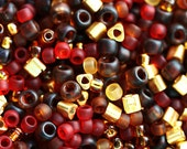 10g Seed Beads Mix - Golden Cherry - MayaHoney Special Mix, TOHO, Red, Gold, Amber, rocailles - S1037