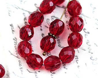 Red glass beads, 8mm Czech round beads, fire polished, faceted beads - 15Pc - 2716