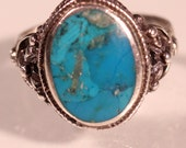 Vintage  80s Sterling Natural Turquoise Ring Stamped 925 European Jewellery Size Apprpx 7.25 US