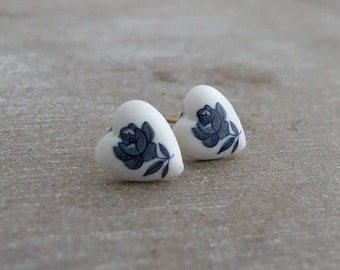Blue and White Heart Earrings .. heart studs, blue rose, cottage chic