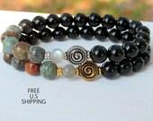 Azurite, Rainbow Obsidian, Spiral bracelet, Meditation, wrist mala, yoga bracelet, Healing bracelet, quartz mala, gemstone bracelet, azurite