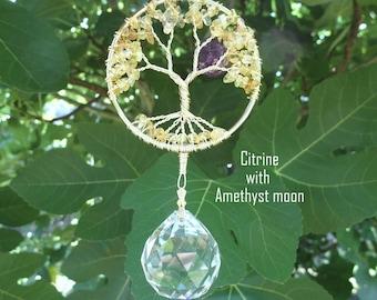 Tree suncatcher, Crystal suncatcher, window ornament, window hanging, rainbow maker, garden, feng shui, crystal prism, garden hanging, ball