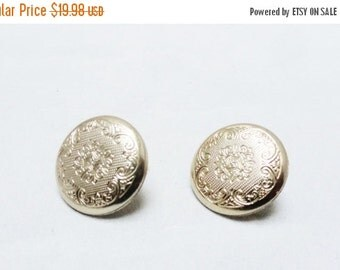 SALE Vintage Earrings 60s Mad Men Coro Textured Gold Round Button Clip On Earrings Clip Ons
