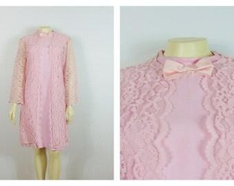 Vintage Dress 60s Pink Lace Jacket & Dress Mad Men Era Mod Pink Dress Metal Zipper Dress Size 12 Modern Small to Medium