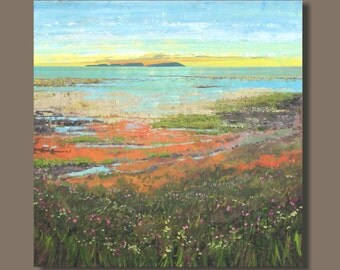 large abstract painting, semi abstract art, landscape, Bay of Fundy, canvas art, east coast marsh, blue orange, sunset coastal impressionism