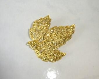 Vintage Brooch Gold Marcasite Look Leaf Shaped Brooch