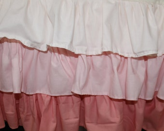 Coral Ombre Tiered Ruffle Crib Skirt