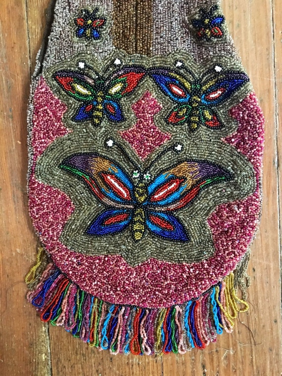 Vintage 1920s Beaded Handbag With Butterfly Design