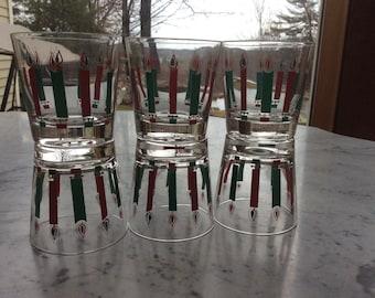 Vintage MID CENTURY MODERN Christmas Candle Glasses Set of 6