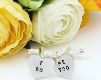 Wedding Cufflinks - I do Me Too Hand Stamped Cufflinks - Cufflinks for Groom - Handstamped Cufflinks - Wedding Cufflinks - Custom Cufflinks