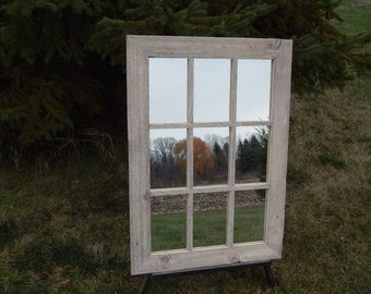 CUSTOM MADE -- Barnwood Framed 9 Pane Mirror