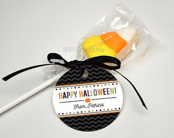 Personalized Happy Halloween Favor Tag - Dots - DIY Printable Digital File