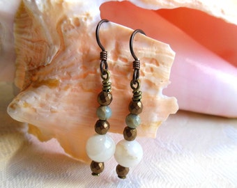 White and bronze earrings, niobium earrings, white agate, African opal, bronze electroplated hematite