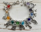 Wizard of Oz, FREE SHIPPING, Little Girl Charm Bracelet (WITH Crystals), by Okrrah