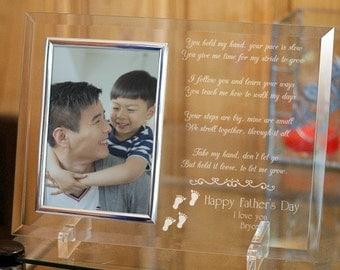 Personalized Father's Day Picture Frame Following in Your Footsteps Daddy Beveled Glass Frame Custom Gift