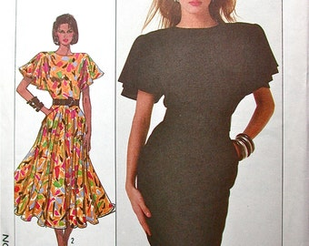 """Simplicity Dress Pattern No 8055 UNCUT Vintage 1980s Size 14 Bust 36"""" Cathy Hardwick Flutter Sleeves Slim or Full Gathered Skirt Midi"""