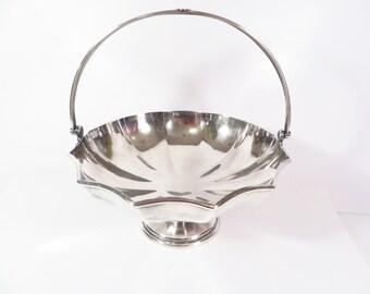 Vintage Silverplate Handled Bowl - Silverplate Handled Easter Basket