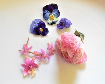 Gourmet Pink/ Purple Candied Flowers, 3 FLOWER TYPES, Combo, Set, Hibiscus, Violas, Mini Orchids, Cupcake Toppers,Wedding Cake, Anniversary