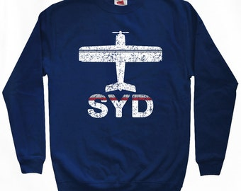 Fly Sydney Sweatshirt - SYD Airport - Men S M L XL 2x 3x - Sydney Australia Shirt - 2 Colors