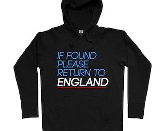 Return to England Hoodie - Men S M L XL 2x 3x - UK Hoody, Sweatshirt, United Kingdom, Britain, London, Manchester, Liverpool - 2 Colors