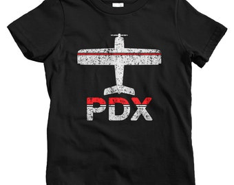 Kids Fly Portland T-shirt - PDX Airport - Baby, Toddler, and Youth Sizes - Portland Oregon Tee - 2 Colors